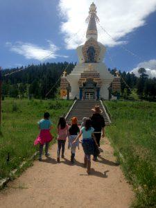 Kids walking to the Great Stupa