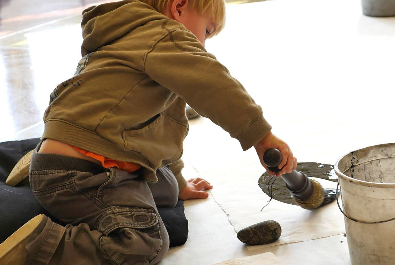 Boy with a calligraphy brush